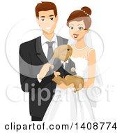 Happy Wedding Couple Holding Their Dog
