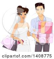 Happy Wedding Couple Shopping