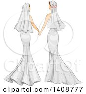 Clipart Of A Rear View Of Sketched Caucasian Lesbian Brides Holding Hands Royalty Free Vector Illustration