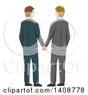 Clipart Of A Rear View Of A Gay Wedding Couple Holding Hands Royalty Free Vector Illustration