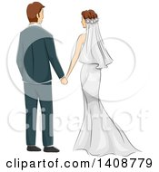 Clipart Of A Sketched Newlywed Couple Holding Hands Rear View Royalty Free Vector Illustration