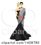 Wedding Couple With The Bride In A Black Wedding Gown