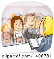 Cartoon Wedding Couple Getting Married