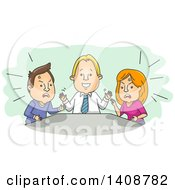 Clipart Of A Cartoon Counselor Helping A Married Couple Through A Fight Royalty Free Vector Illustration
