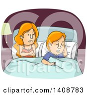 Clipart Of A Cartoon Caucasian Couple In Bed The Man Asleep The Woman Awake Royalty Free Vector Illustration by BNP Design Studio