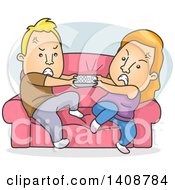 Cartoon Caucasian Couple Fighting Over The Remote Control
