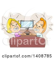 Cartoon Caucasian Husband And Wife Fighting Over A Remote Control