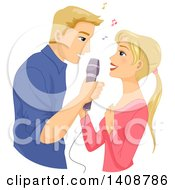 Clipart Of A Caucasian Couple Singing Together Royalty Free Vector Illustration