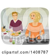 Clipart Of A Caucasian Couple Cooking In A Kitchen Together Royalty Free Vector Illustration by BNP Design Studio