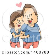 Cartoon Cuddly Caucasian Woman Clinging To Her Chubby Man