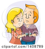 Clipart Of A Cartoon Sad Caucasian Couple With A Negative Pregnancy Test Royalty Free Vector Illustration