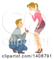 Clipart Of A Caucasian Man Proposing To His Girlfriend Royalty Free Vector Illustration