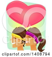 Clipart Of A Happy Couple Working Out Together Under A Big Heart Royalty Free Vector Illustration