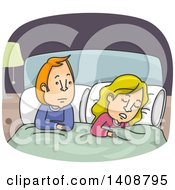 Clipart Of A Cartoon Caucasian Couple In Bed The Woman Asleep The Man Awake Royalty Free Vector Illustration