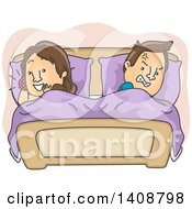 Clipart Of A Cartoon Caucasian Couple In Bed The Man Angry At The Woman Talking On A Cell Phone Royalty Free Vector Illustration