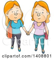 Clipart Of A Cartoon Red Haired Caucasian Lesbian Couple Holding Hands Royalty Free Vector Illustration by BNP Design Studio