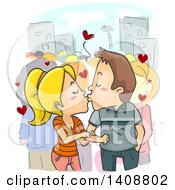 Clipart Of A Cartoon Caucasian Couple Kissing In Public Royalty Free Vector Illustration by BNP Design Studio