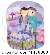 Clipart Of A Happy Couple Watching Their Baby Sleep Royalty Free Vector Illustration by BNP Design Studio