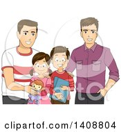 Clipart Of A Same Sex Gay Couple With Their Children Royalty Free Vector Illustration
