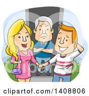 Clipart Of A Caucasian Father Showing Dislike For His Daughters Boyfriend Royalty Free Vector Illustration
