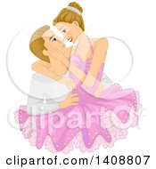 Clipart Of A Ballet Couple Embracing Royalty Free Vector Illustration
