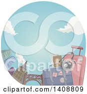Clipart Of A Couple Of Suitcases With A Camera In A Circle With Skyscrapers Royalty Free Vector Illustration by BNP Design Studio