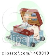 Clipart Of A Suitcase Open On To Pof Another With A Paper Plane Royalty Free Vector Illustration