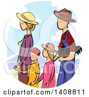 Clipart Of A Sketched Farmer Family Walking With A Chicken Royalty Free Vector Illustration
