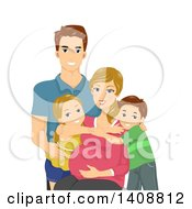 Clipart Of A Happy Caucasian Family Posing With Their Pregnant Wife And Mom Royalty Free Vector Illustration