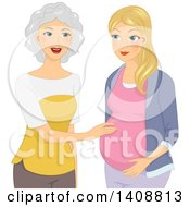 Clipart Of A Happy Mother Touching Her Pregnant Daughters Belly Royalty Free Vector Illustration