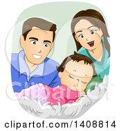 Poster, Art Print Of Happy Caucasian Couple Watching Their Baby Girl Sleep