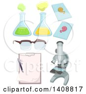 Clipart Of A Microscope And Science Lab Tools Royalty Free Vector Illustration by BNP Design Studio