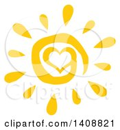 Clipart Of A Yellow Spiral Heart Summer Time Sun Royalty Free Vector Illustration by Hit Toon