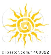 Clipart Of A Yellow Spiral Summer Time Sun Royalty Free Vector Illustration by Hit Toon