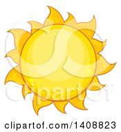 Clipart Of A Yellow Summer Time Sun Royalty Free Vector Illustration by Hit Toon