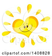 Yellow Heart Shaped Summer Time Sun Character Mascot
