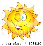 Yellow Summer Time Sun Character Mascot Winking