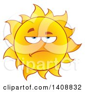 Clipart Of A Grumpy Yellow Summer Time Sun Character Mascot Royalty Free Vector Illustration