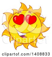 Clipart Of A Yellow Summer Time Sun Character Mascot With Heart Eyes Royalty Free Vector Illustration