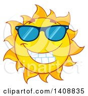 Clipart Of A Yellow Summer Time Sun Character Mascot Wearing Shades Royalty Free Vector Illustration by Hit Toon