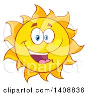 Clipart Of A Yellow Summer Time Sun Character Mascot Smiling Royalty Free Vector Illustration by Hit Toon