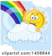 Clipart Of A Yellow Summer Time Sun Character Mascot With A Rainbow Royalty Free Vector Illustration by Hit Toon