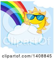 Clipart Of A Yellow Summer Time Sun Character Mascot Wearing Shades With A Rainbow Royalty Free Vector Illustration by Hit Toon