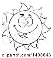 Clipart Of A Black And White Lineart Summer Time Sun Character Mascot Winking Royalty Free Vector Illustration by Hit Toon