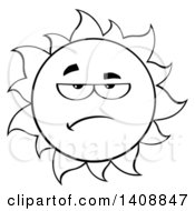 Clipart Of A Black And White Lineart Grumpy Summer Time Sun Character Mascot Royalty Free Vector Illustration by Hit Toon