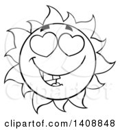 Clipart Of A Black And White Summer Time Sun Character Mascot With Heart Eyes Royalty Free Vector Illustration by Hit Toon