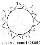 Black And White Lineart Summer Time Sun