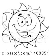 Clipart Of A Black And White Lineart Summer Time Sun Character Mascot Smiling Royalty Free Vector Illustration by Hit Toon