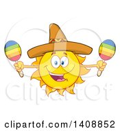 Yellow Summer Time Sun Character Mascot Wearing A Mexican Sombrero Hat And Playing Maracas
