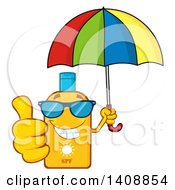 Clipart Of A Bottle Of Sun Block Mascot Wearing Shades Holding An Umbrella And Giving A Thumb Up Royalty Free Vector Illustration by Hit Toon